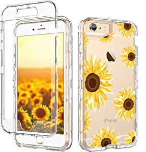 iPhone 6S Plus Case iPhone 6 Plus Case Clear GUAGUA Transparent Cover Sunflower Floral Printed Three Layer Hybrid Hard PC Soft Rubber Shockproof Protective Phone for iPhone 6 Plus/6S Plus Yollow