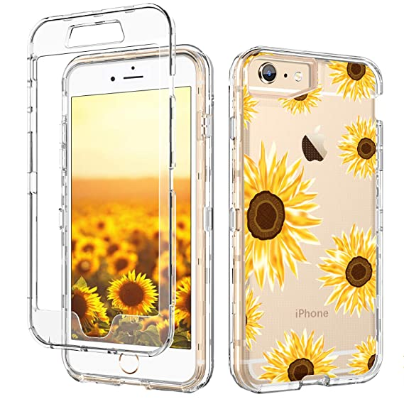more photos 8b3c4 889ba GUAGUA iPhone 6S Plus Case,iPhone 6 Plus Case Clear Transparent Cover  Sunflower Floral Printed Three Layer Hybrid Hard Plastic Soft Rubber  Shockproof ...