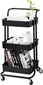 MAXCOOK 3-Tier Rolling Utility Cart, Storage Cart with Handle and Lockable Wheels for Office, Kitchen, Bedroom, Bathroom, Laundry Room & Dressers, Black