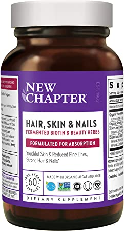 New Chapter Hair Skin & Nails Vitamins with Fermented Biotin + Astaxanthin - Vegetarian Capsule (Packaging May Vary), 60 Count (Pack of 1)