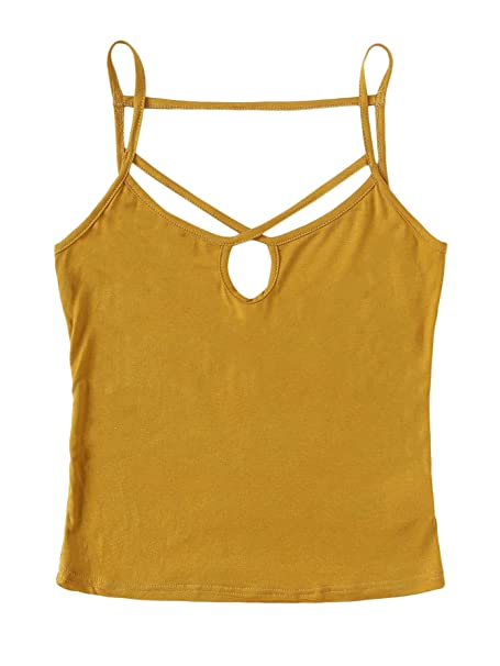SOLY HUX Women s Sexy Criss Cross Strappy Solid Cami Tank Top Blouse at  Amazon Women s Clothing store