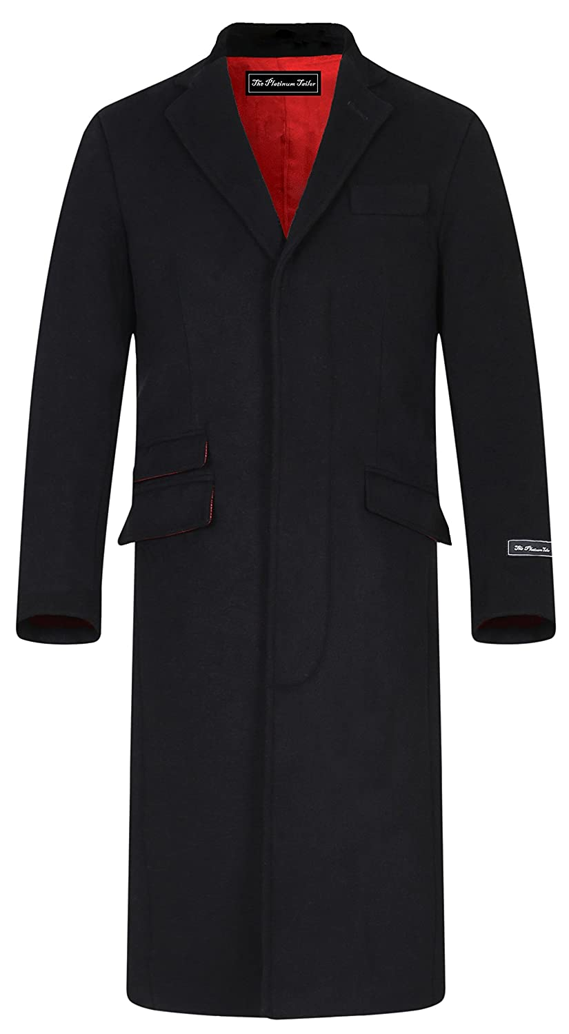 Men's Vintage Style Coats and Jackets  Overcoat Wool Velvet Collar & Red Satin Lining $207.72 AT vintagedancer.com