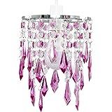 MiniSun Lustre avec perles et pendeloques. Gouttelettes en acrylique Violet / transparentes