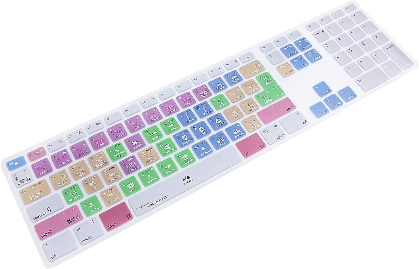 HRH for Apple iMac G6 MB110LL/B MB110LL/A A1243 Keyboard with Numeric Keypad NumberPad Print: Adobe Premiere Pro CC Functional Shortcuts Hot Keys Design Silicone Keyboard Skin Cover [US/EU Layout]