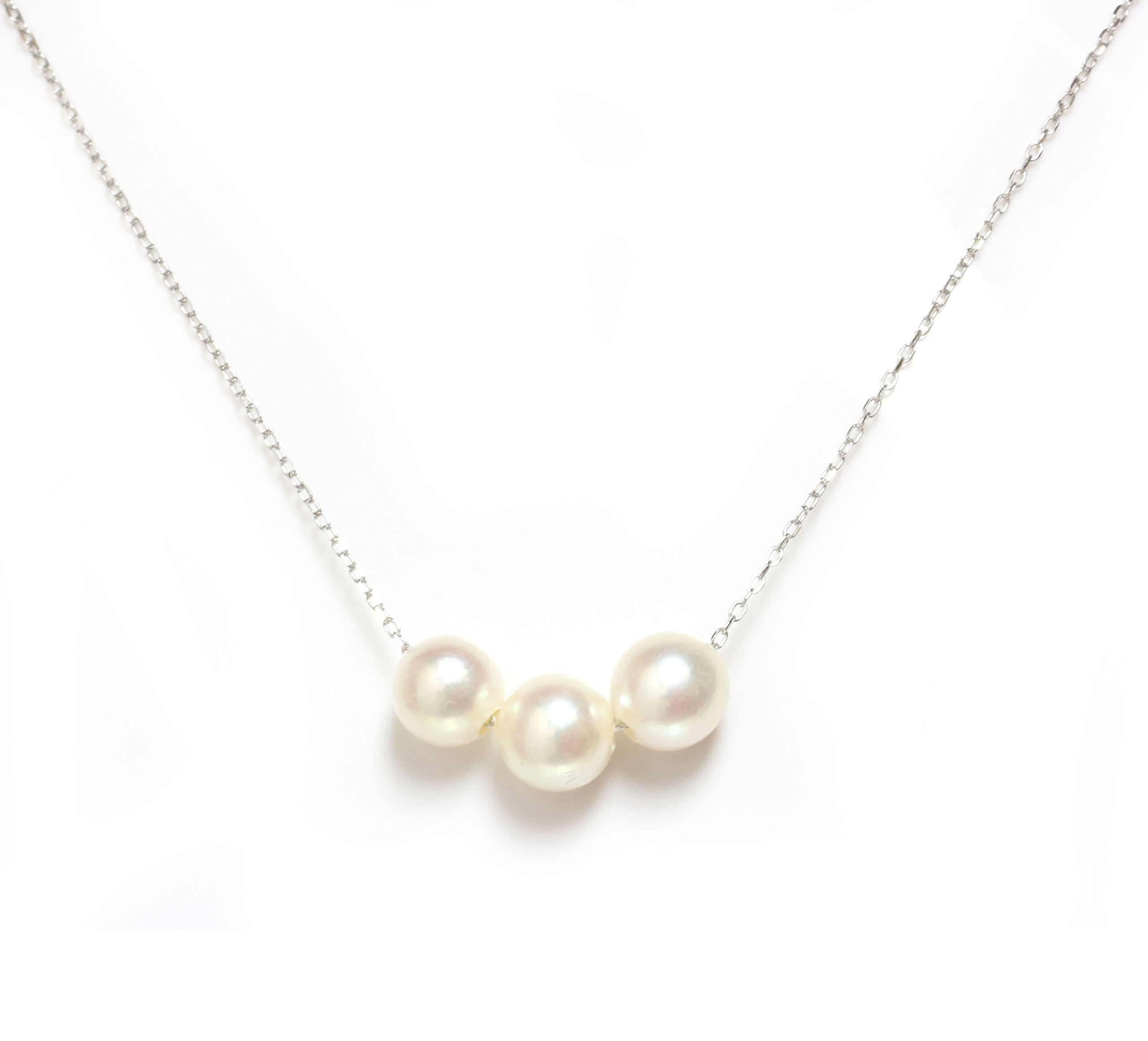 Akoya Pearl Necklace 7.5 - 8 MM 14kt Rose, White Or Yellow Gold chain 16'' or 18'' (18, white-gold)