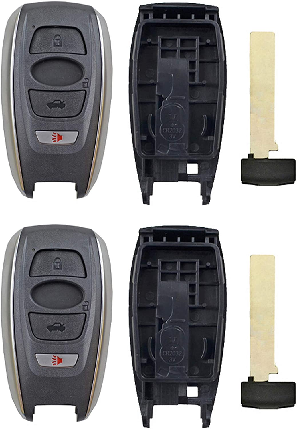 QualityKeylessPlus Replacement Remote Case 4 Button Pad Uncut Insert Key Blade For Subaru HYQ14AHC HYQ14AHK 1