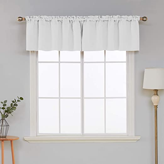 Deconovo 2 Panels Blackout Window Valances for Kitchen Thermal Insulated Blackout Grommet Top Tier Curtain for Kitchen 52x36 Inch Set of 2