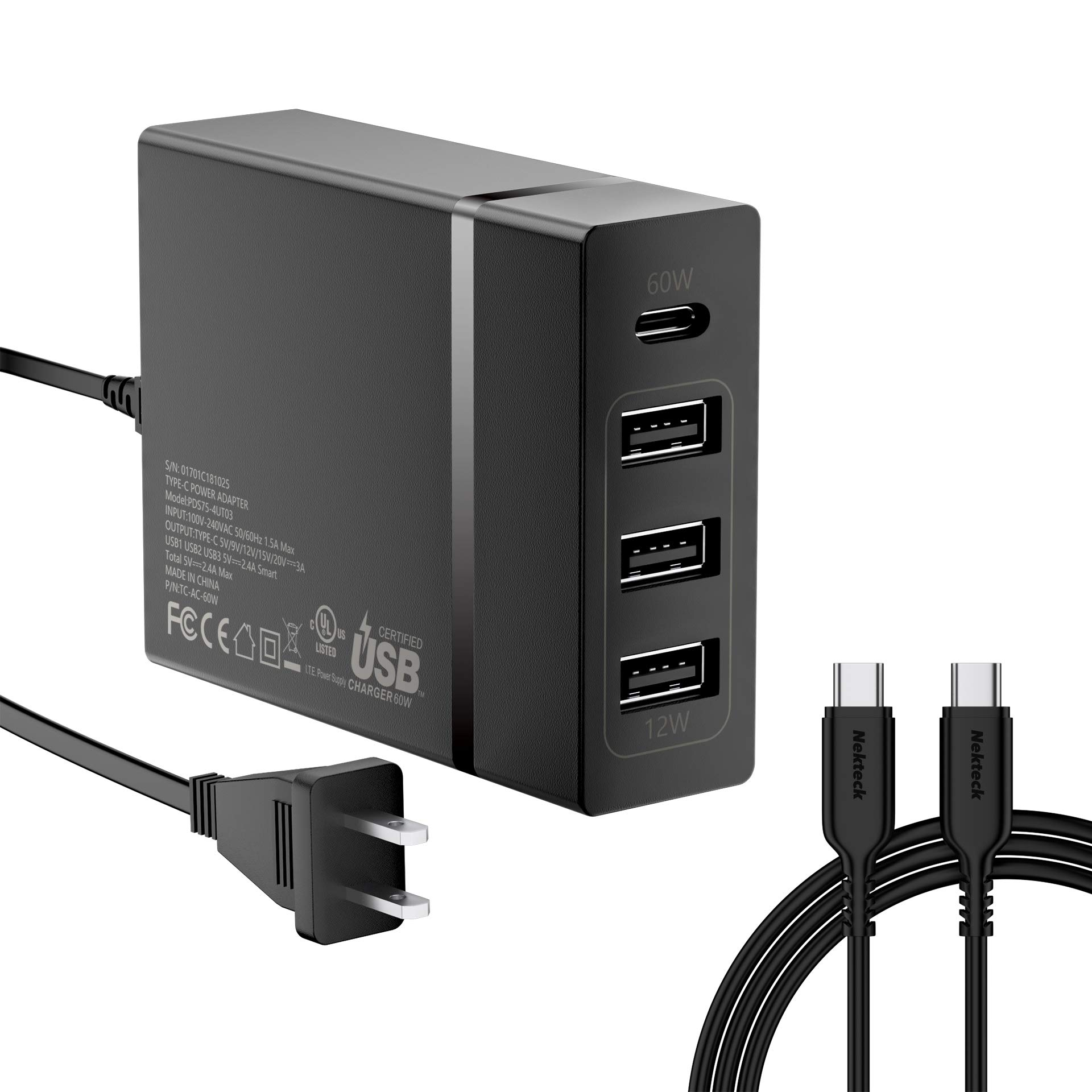 USB C Wall Charger, Nekteck 72W USB Wall Charger with 4 USB Ports, One 60W Type C Power Delivery Port for Type C Laptops,MacBook Pro, iPad Pro 2018, and 3 Ports for Galaxy S10/S9, iPad, Pixel and More by Nekteck