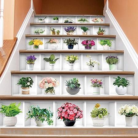Escaleras etiquetas Etiqueta engomada creativa en maceta decoración de la planta verde etiqueta engomada de la escalera 3D autoadhesivo impermeable escalera vertical Mural etiqueta de la pared La deco: Amazon.es: Hogar