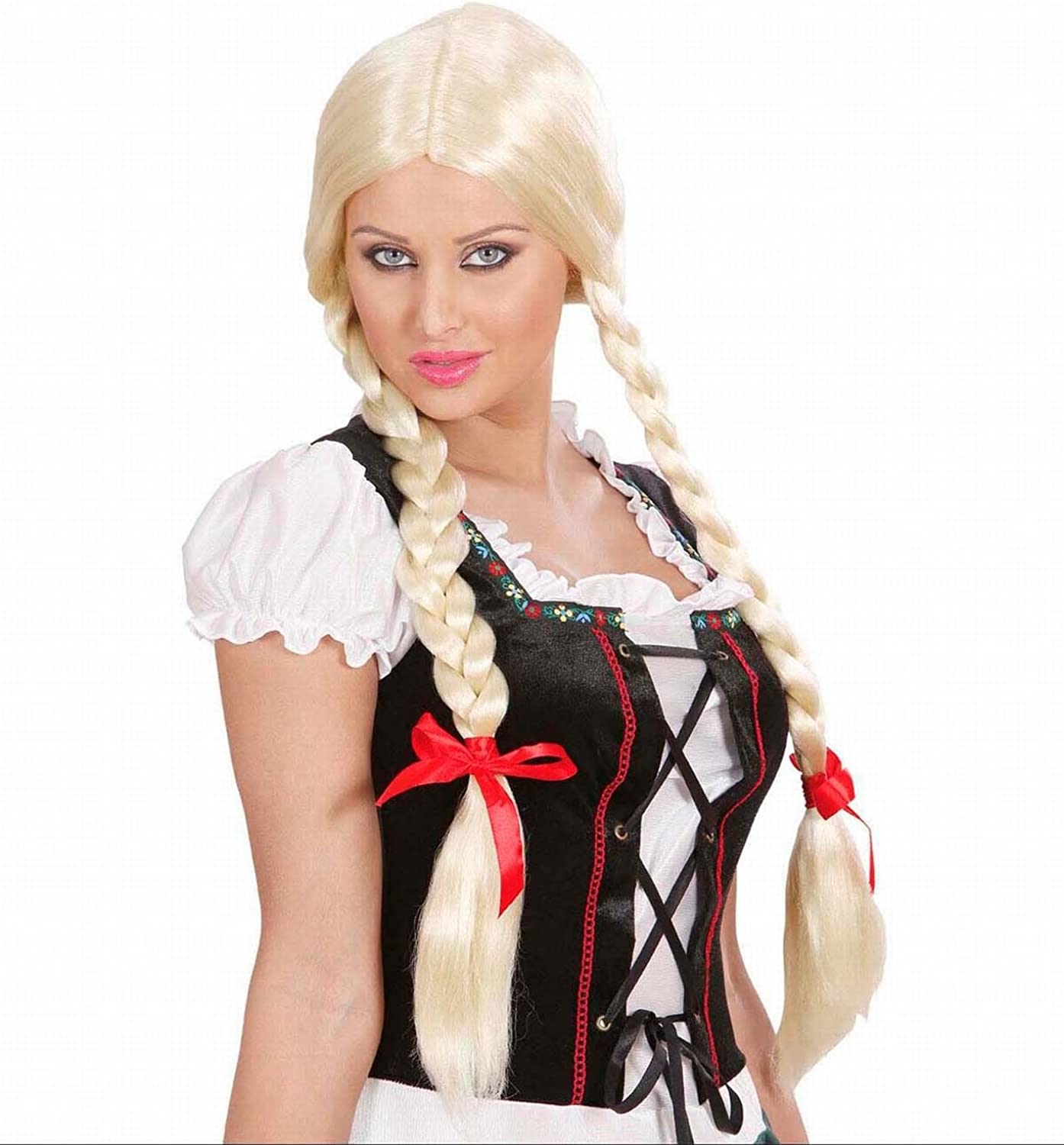 Blonde Wig for Hair Accessory Fancy Dress Gretel Long Plaits
