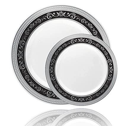 Posh Setting Royal Collection Combo Pack China Look White Silver/Black Plastic Plates (  sc 1 st  Amazon.com & Amazon.com: Posh Setting Royal Collection Combo Pack China Look ...