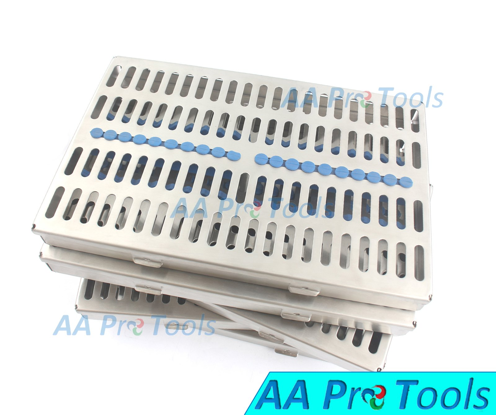 AA PRO GERMAN GRADE STEEL SET OF 5 EACH DENTAL AUTOCLAVE STERILIZATION CASSETTE RACK BOX TRAY FOR 20 INSTRUMENT A+ QUALITY