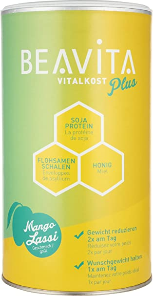 BEAVITA Vitalkost Plus Sabor Mango Lassi | 572g | 214 kcal por porción | Sin gluten