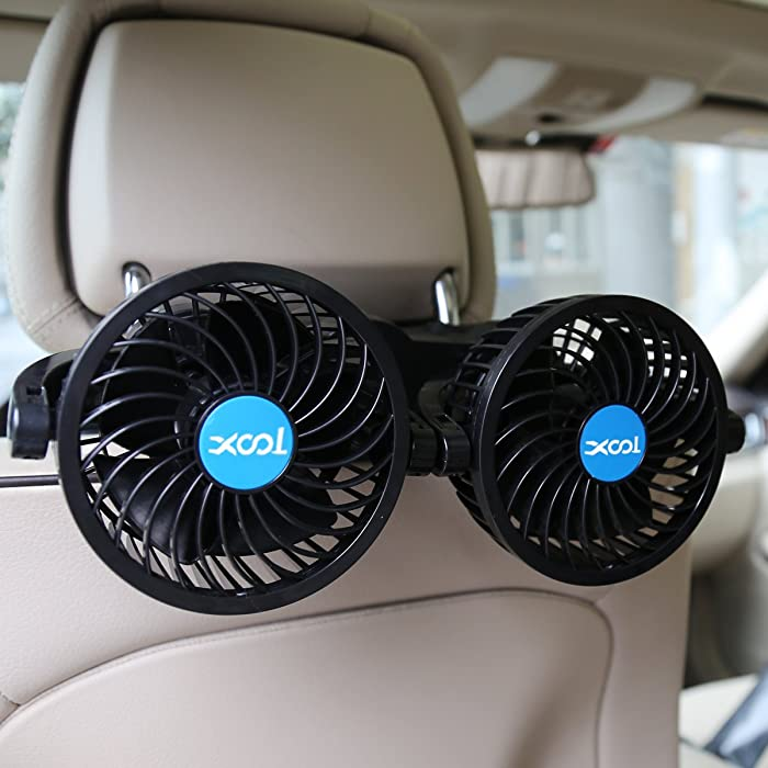 XOOL Car Fan, Electric Car Fans for Rear Seat Passenger Portable Car Seat Fan Headrest 360 Degree Rotatable Backseat Car Fan 12V Cooling Air Fan with Stepless Speed Regulation for SUV, RV, Vehicles