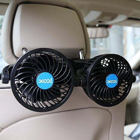 XOOL Car Fan, Electric Car Fans for Rear Seat Passenger Portable Car Seat Fan Headrest 360 Degree Rotatable Backseat Car Fan 12V Cooling Air Fan with ...