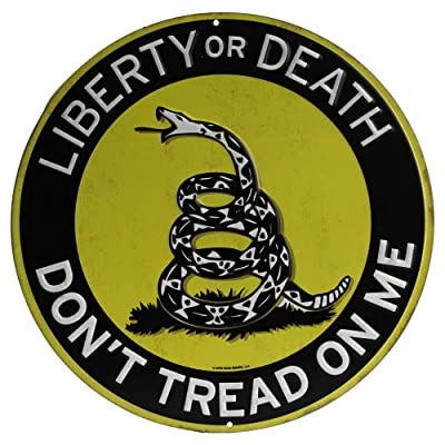 Open Road Brands Black and Yellow Liberty or Death Snake Tin Metal Wall Art Sign - an Officially Licensed Product Great Addition to Add What You Love to Your Home/Garage Decor: Home & Kitchen