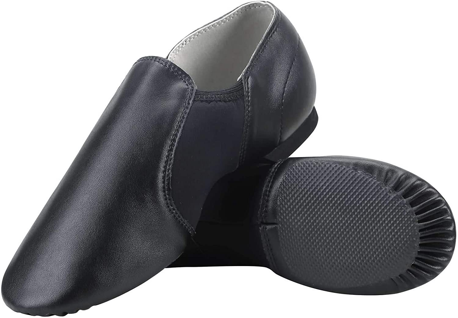 Dynadans Unisex PU Leather Upper Slip-on Jazz Shoe with Elastics for Women and Mens Dance Shoes