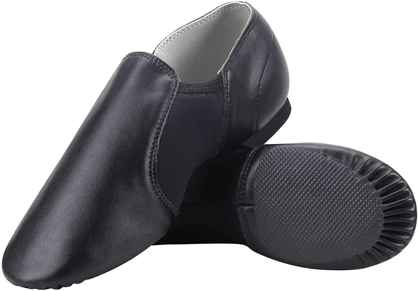 Toddler//Little Kid//Big Kid Dynadans PU Leather Jazz Shoe Slip On Dance Shoes with Side Elastics for Girls and Boys