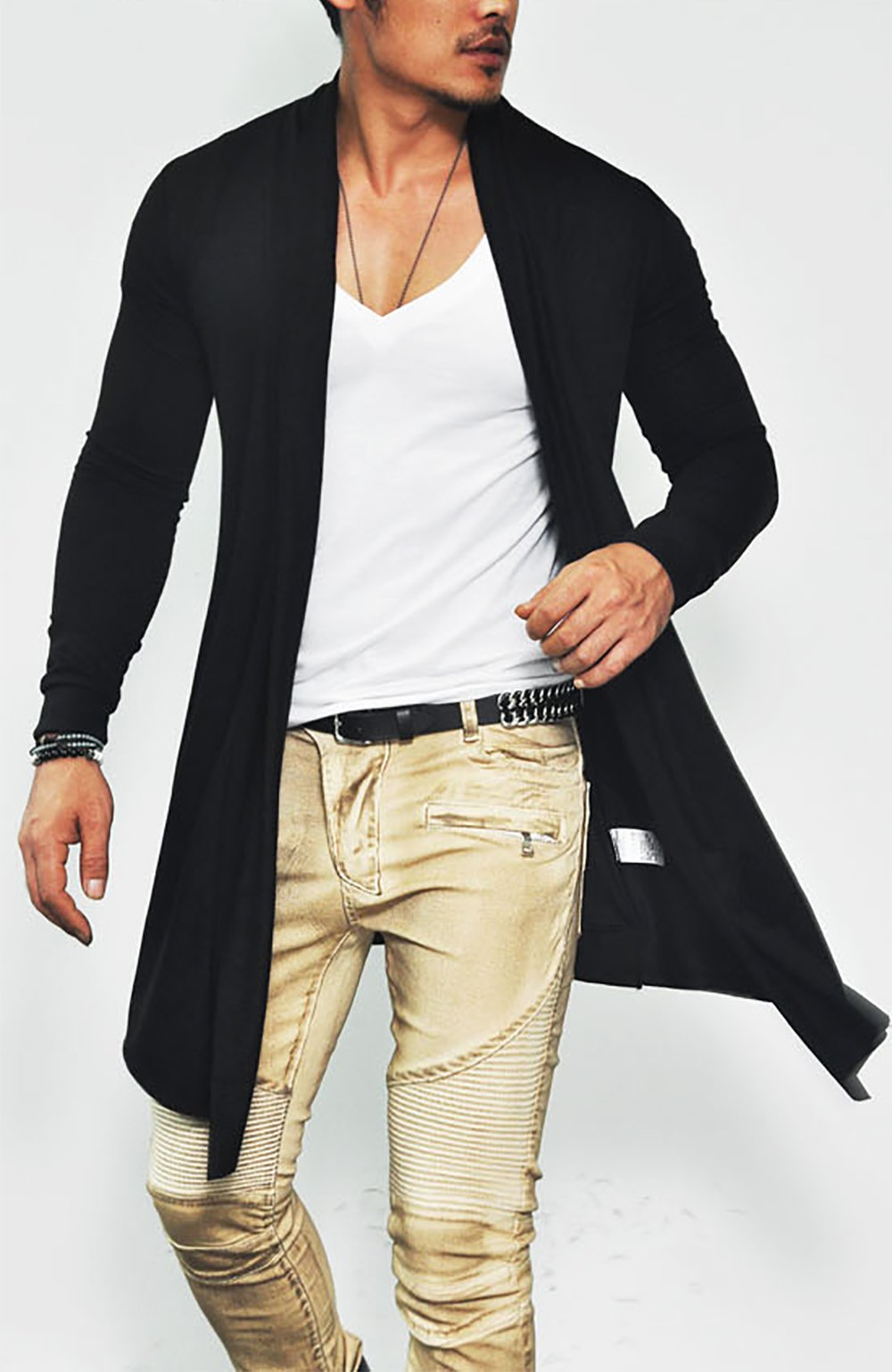 COOFANDY Men's Ruffle Shawl Collar Long Sleeves Cardigan (Medium, Black) by COOFANDY (Image #2)