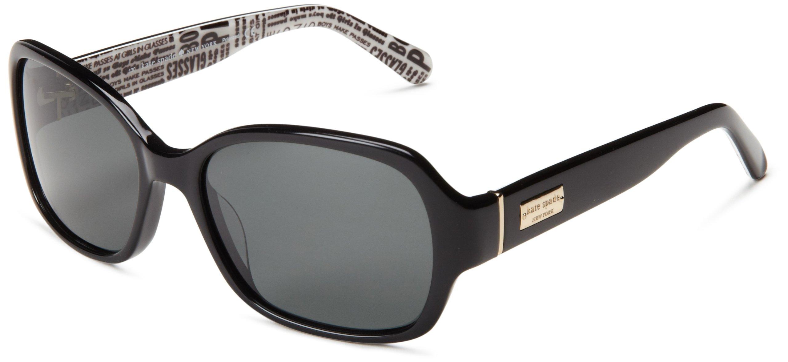 Kate Spade Women's Akira Polarized Rectangular Sunglasses,Black,54 mm