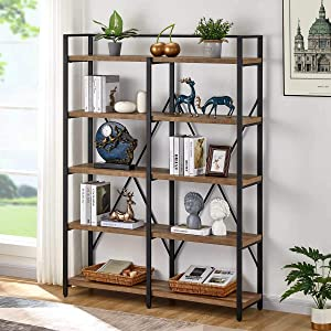 FATORRI Industrial Bookshelf 5 Tier, Rustic Wood Etagere Bookcase, Metal Tall Book Shelf with Open Shelving Unit (Rustic Oak, 51 Inch Wide)