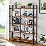 FATORRI Industrial Bookshelf 5 Tier, Rustic Wood Etagere Bookcase, Metal Tall Book Shelf with Open Shelving Unit (Rustic Oak,