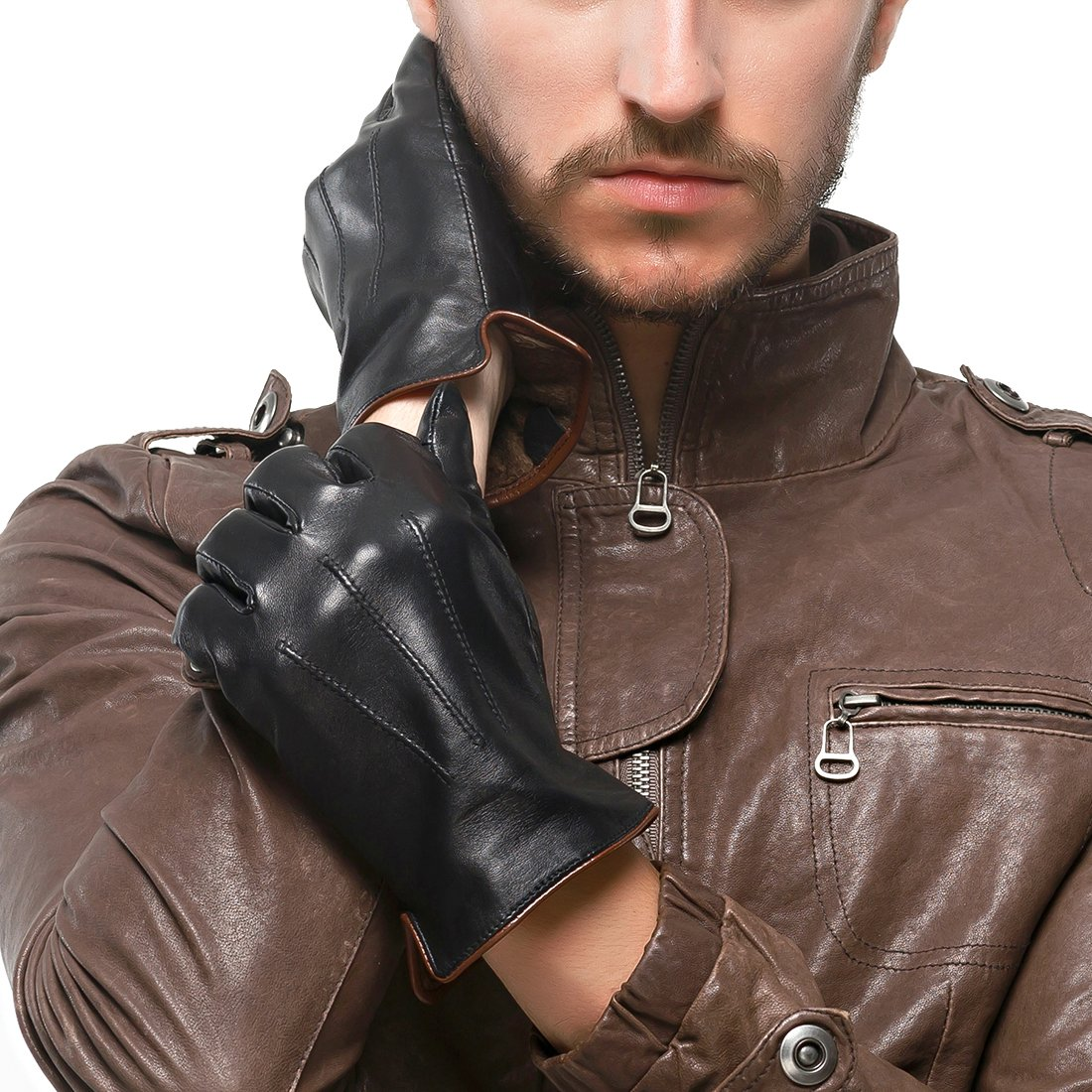 Nappaglo Men's Genuine Touchscreen Nappa Leather Gloves Driving Winter Warm Mittens (M (Palm Girth:8''-8.5''), Black (Touchscreen))