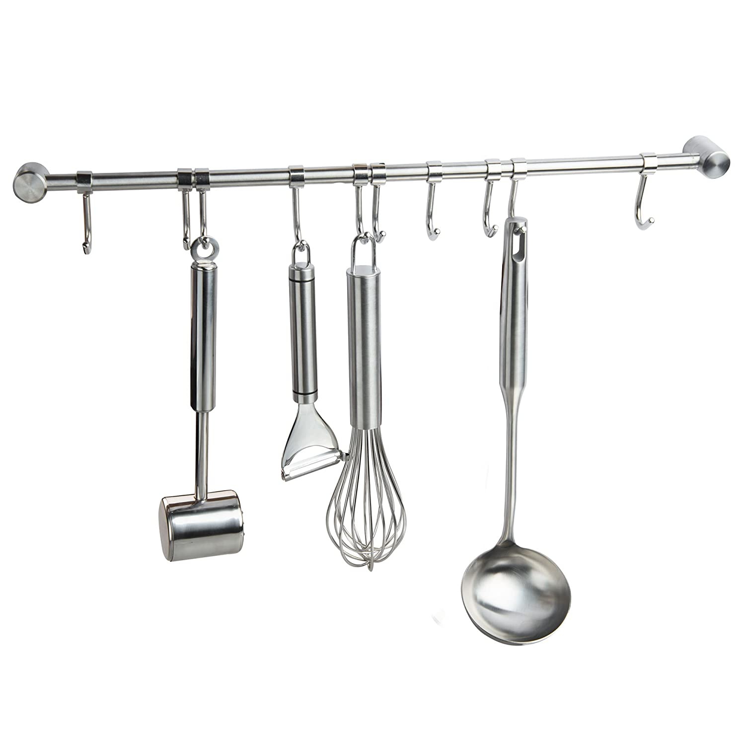 IMEEA 19.5inch Wall-mounted SUS304 Stainless Steel Kitchen Rail with 10 Movable Hooks Hangers (10 Hooks)