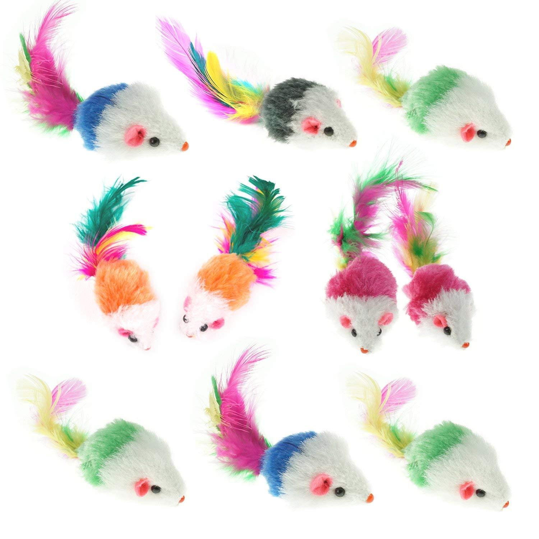 MLJTECH Lot DE 10Furry Chaton Souris Cat Toys avec Plumes et Fourrure Artificielle, Jouet pour Chat Souris KBLN005A