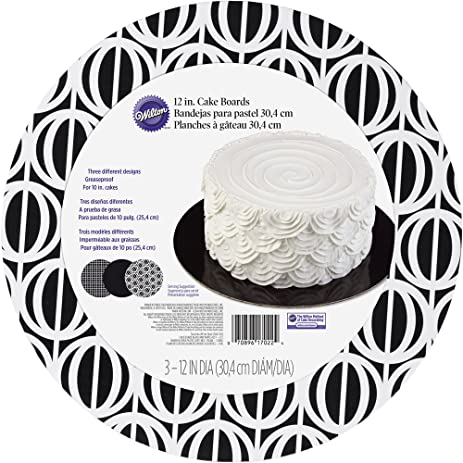 Wilton 2104-7022 3 Count Black and White Round Cake Board Set, Assorted