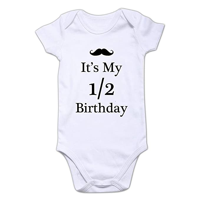 Funcart Mustache It's My Half Birthday Romper for Baby Born Baby/Baby Arrival/Half Birthday/Baby Boy's & Baby Girl's Romper/Return Gift