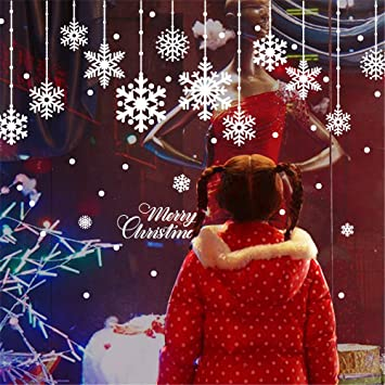 Christmas snowflakes window sticker set of 3 diy window cling sheet removable snowflake santa deersleigh