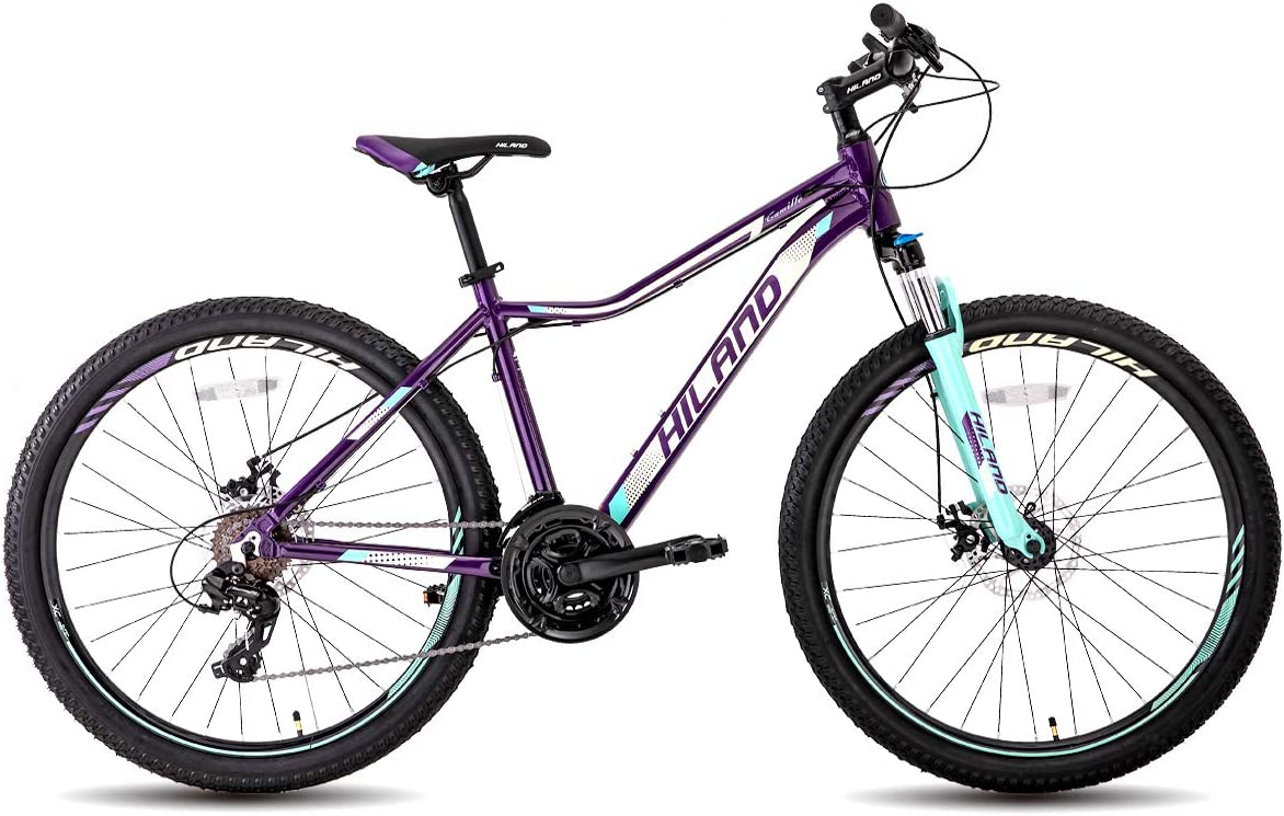 Hiland 26 Mountain Bike for Women with Lockout Fork Disc-Brake,Purple Blue