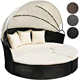 Miadomodo Rattan Sun Lounger Ø 180 cm (Choice of Colours) Height Adjustable Sun Day Bed with Table Garden Furniture Set (Black)