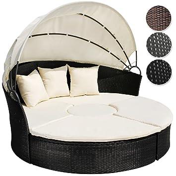 miadomodo lit canap de jardin modulable en rsine tresse 180 cm avec pare - Canape De Jardin