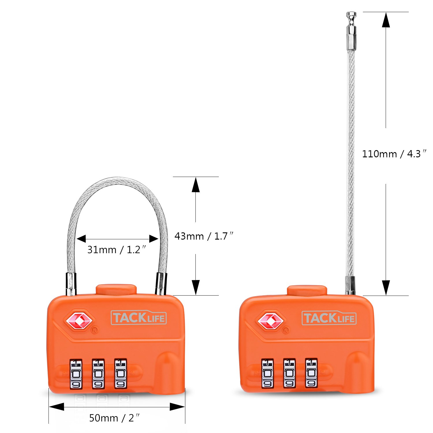 Luggage Locks, TACKLIFE HCL1A Cable Locks, TSA Approved Travel Locks, Flexible Locks, 3Digit Combination Locks for Gym, School, Locker, Outdoor, Fence, Suitcase & Baggage - Orange by TACKLIFE (Image #2)