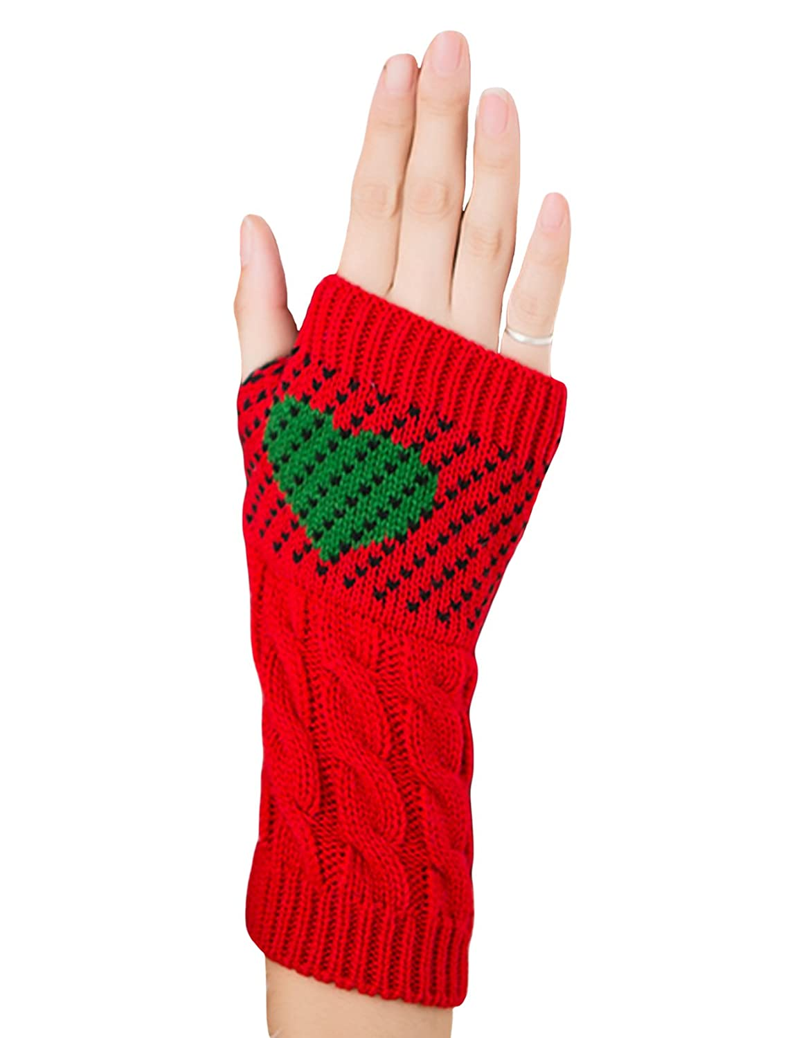 Bestgift Womens Crochet Knitted Fingerless Gloves with Thumb Hole BSGFWJ0293-7