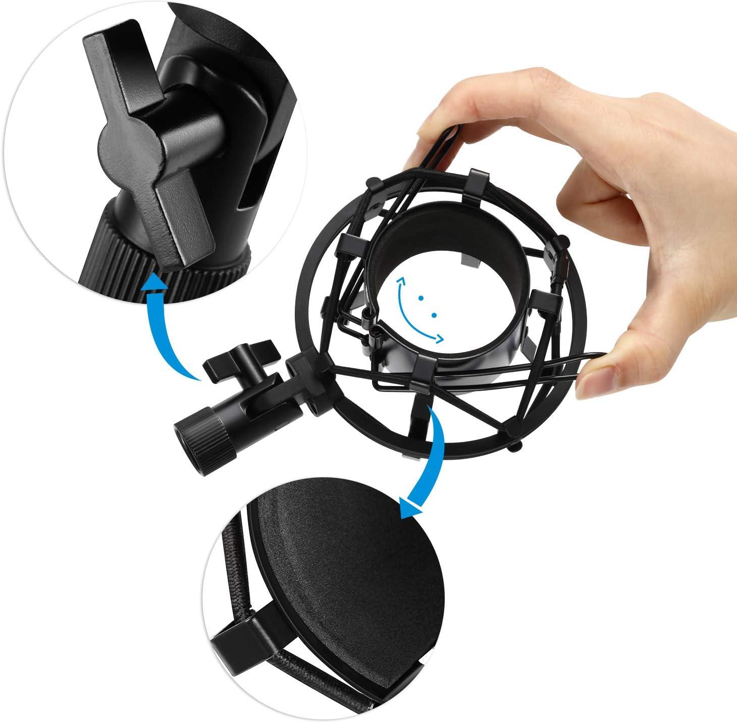 Bkinsety 48-54mm Microphone Mont Shock Avec filtre pop-up /à trois couches et adaptateur /à vis,Utilis/é pour les travaux de diffusion en studio