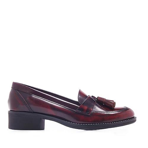 Castellanísimos Mocasines de Mujer en Piel Florentic Burdeos con Borlas: Amazon.es: Zapatos y complementos