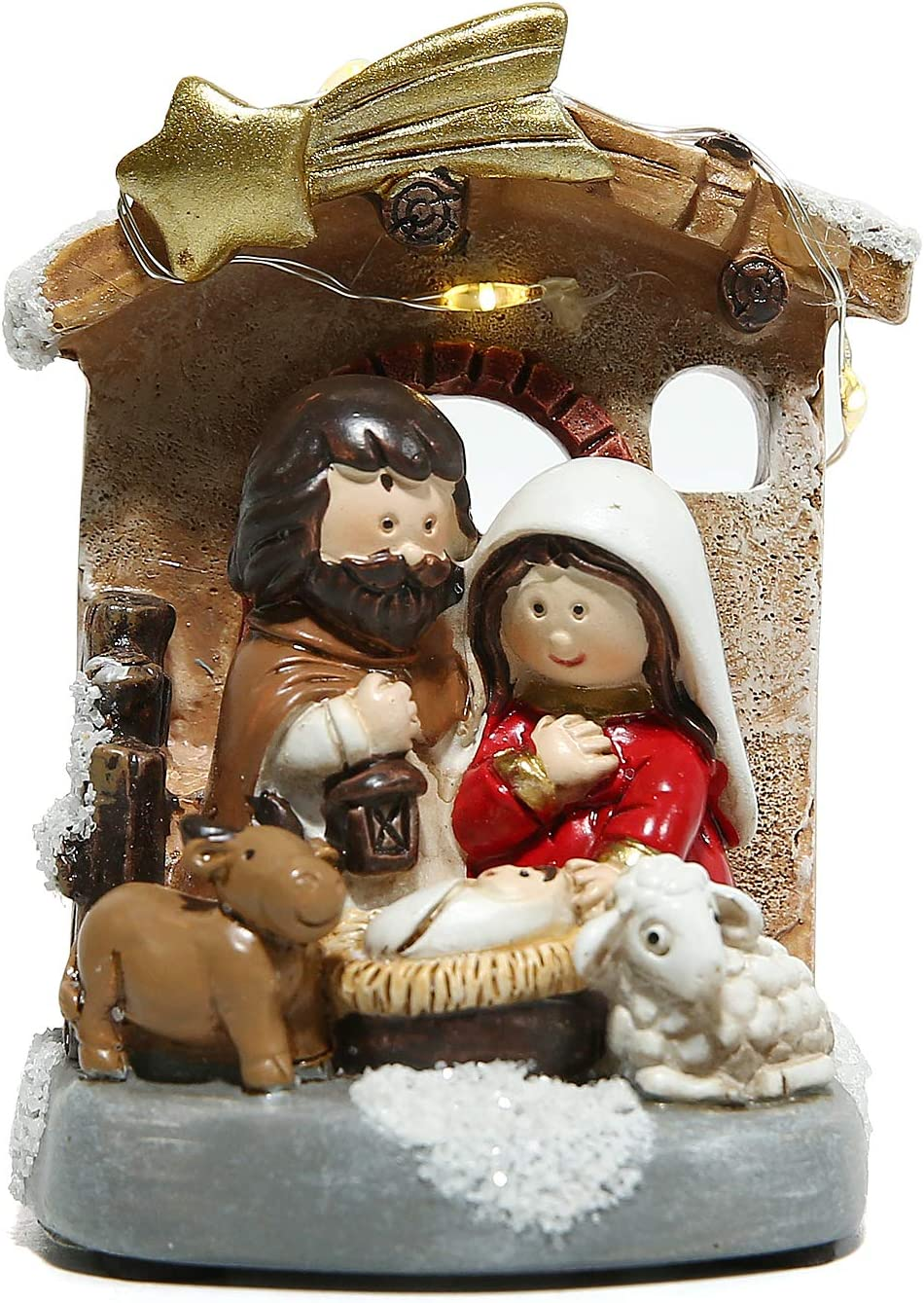 Holy Family Figurine Nativity Sets in Stable for Indoor Decoration with Manger Scene