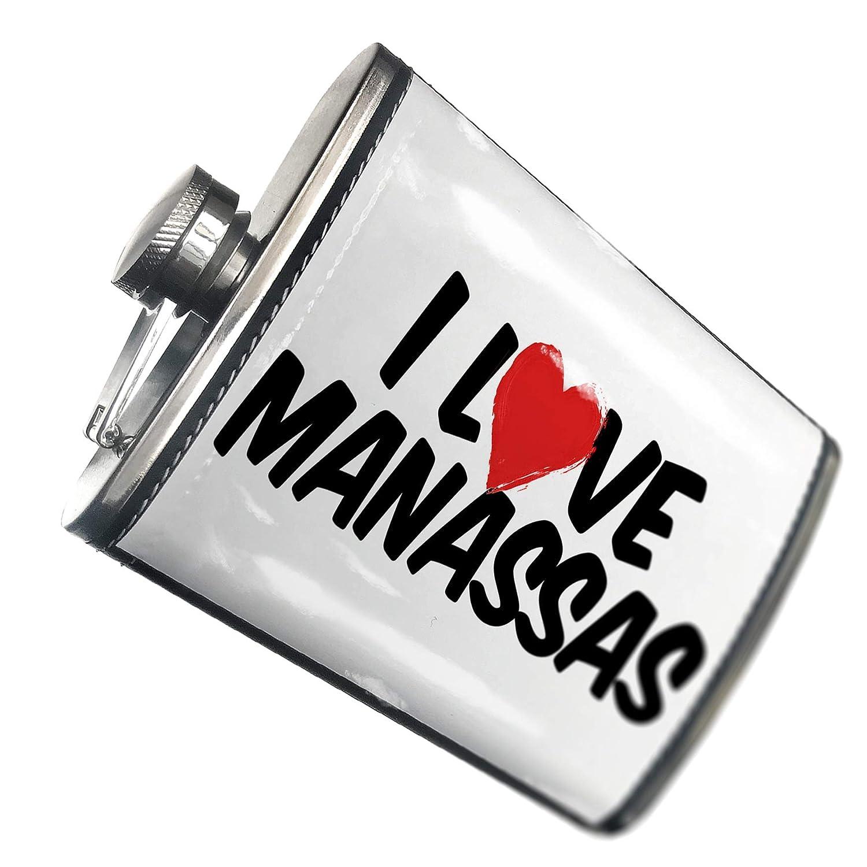 8オンスフラスコステッチI Love MANASSASステンレススチール – Neonblond   B00QQVGBIW