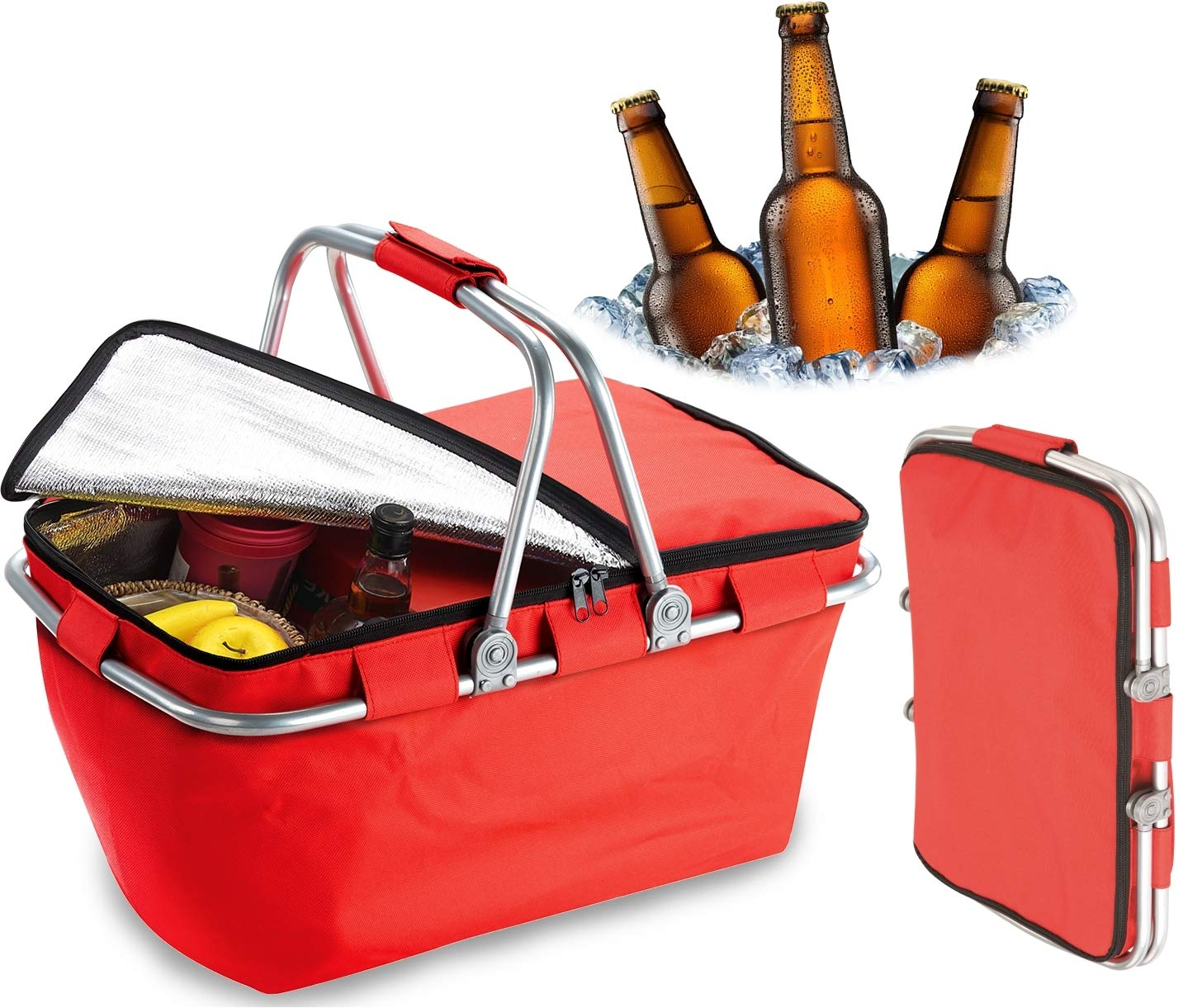 Bundaloo Collapsible Cooler Basket - Insulated Picnic Baskets for Lunch, Snacks, Drinks, Beer - Portable Food Storage Bags for Traveling, Fishing, Camping, Indoor, Beach (Red) by Bundaloo