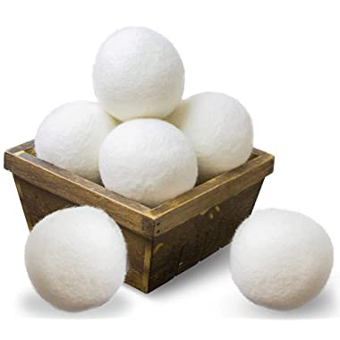 SnugPad Wool Dryer Balls Natural Fabric Softener and 100% Organic, Chemical Free and Reduces Wrinkles. Saving Electricity and Drying Time XL Size 6 Pack White 6 Count