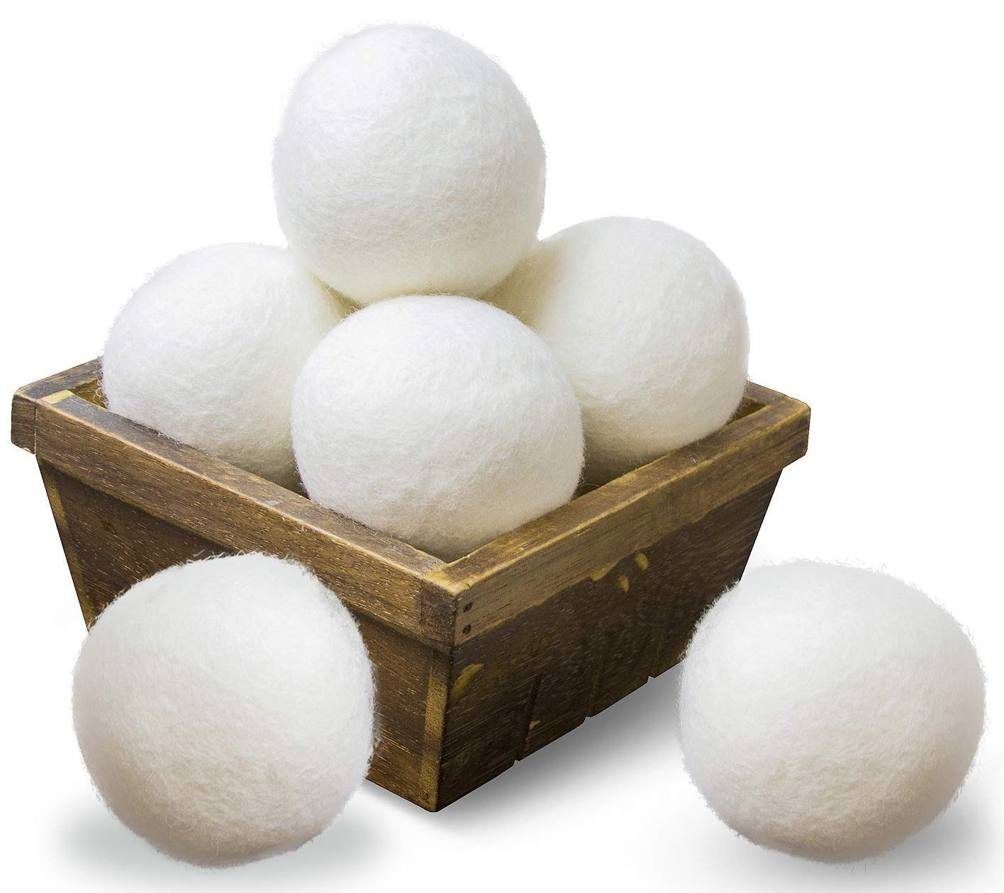 6b745b548a68 SnugPad Wool Dryer Balls Natural Fabric Softener XL Size 6 Pack White 6  Count