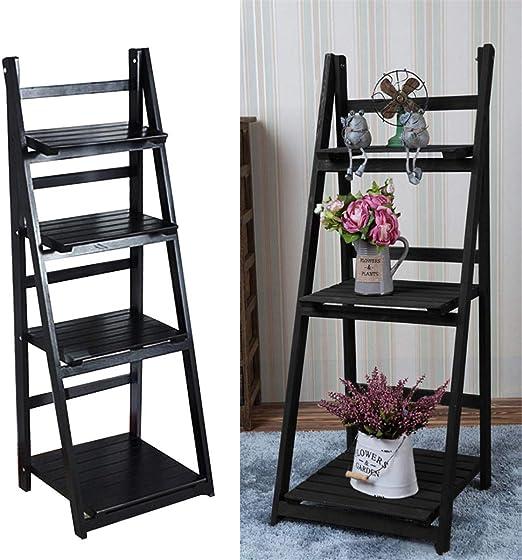 AllRight - Estantería de madera para libros tipo escalera de 3/4 niveles, estantería de almacenamiento para decoración del hogar, estantería de pie, negro, 3 Tiers: Amazon.es: Hogar