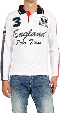 La Martina Camisa Polo ENGLAND para hombre, Color: Blanco: Amazon ...
