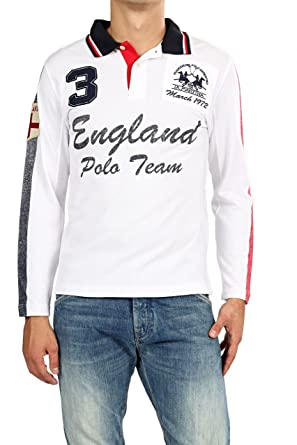 La Martina Camisa Polo ENGLAND para hombre, Color: Blanco: Amazon ...