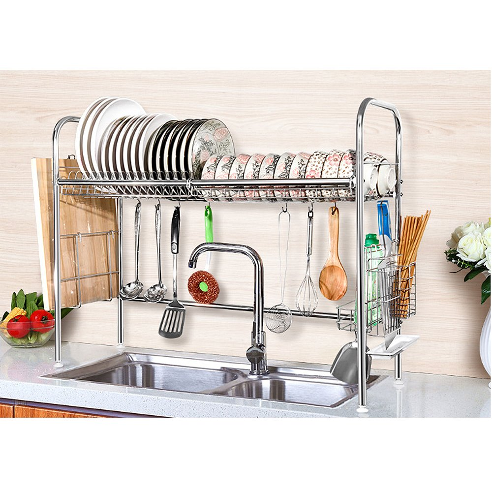 Over The Sink Drying Rack 2 Tier Shelf Stainless Steel Dish Bowl Drying Rack Over Sink
