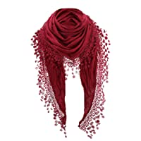 PiriModa Damen Halstuch Tuch Dreiecktuch mit Bommeln Viele Farben
