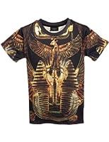 Pink Queen Pullover Round Collar Black Short Sleeves Egypt Pharaoh Print T-shirt